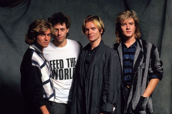 George Michael, Bob Geldof, Sting and Simon Le Bon